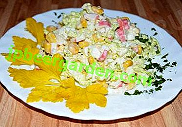 Wie kocht man einen Salat aus Pekinger Kohl und Krabbenstangen mit Gurke?  Schritt-für-Schritt-Rezepte mit Mais und anderen Produkten
