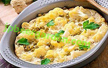 Piatti in un forno a cavolfiore con panna: la ricetta principale e le variazioni con formaggio, funghi, altri prodotti